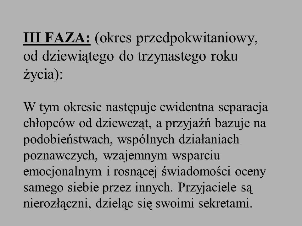 III FAZA: (okres przedpokwitaniowy, od dziewiątego do trzynastego roku życia): W tym okresie następuje ewidentna separacja chłopców od dziewcząt, a przyjaźń bazuje na podobieństwach, wspólnych działaniach poznawczych, wzajemnym wsparciu emocjonalnym i rosnącej świadomości oceny samego siebie przez innych.