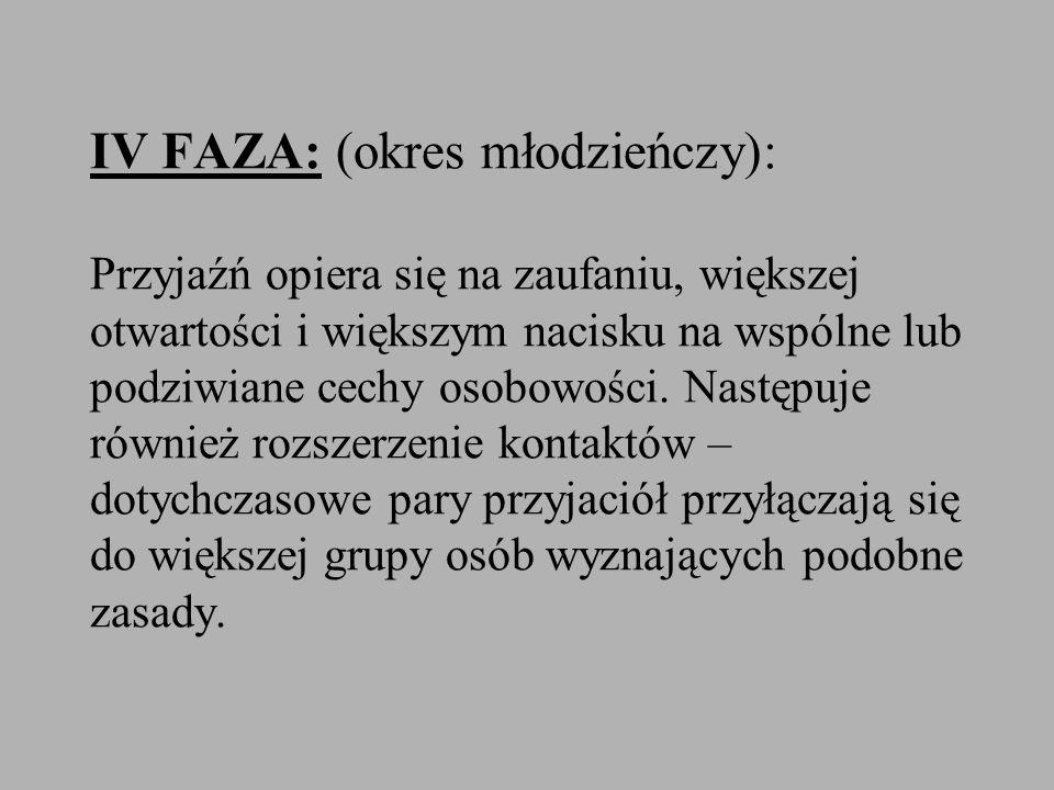 IV FAZA: (okres młodzieńczy): Przyjaźń opiera się na zaufaniu, większej otwartości i większym nacisku na wspólne lub podziwiane cechy osobowości.