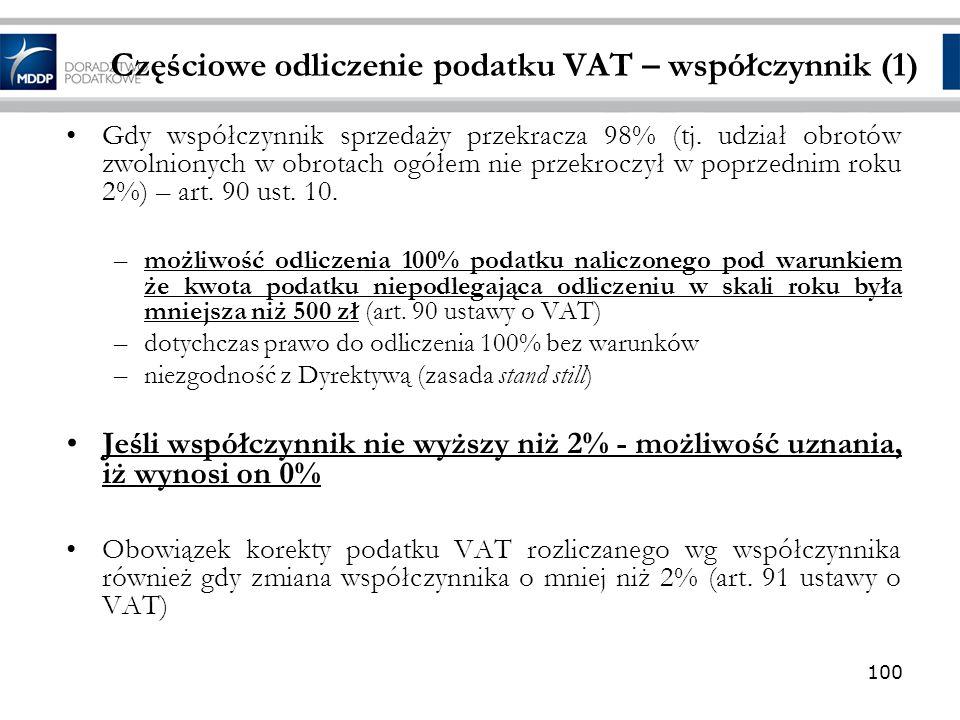 Częściowe odliczenie podatku VAT – współczynnik (1)