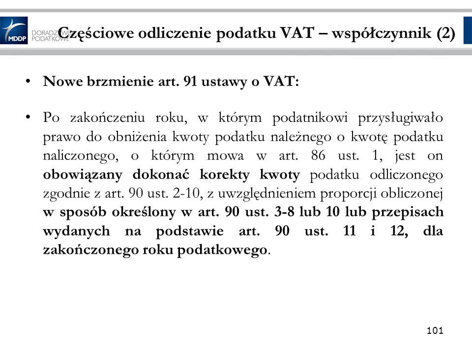 Częściowe odliczenie podatku VAT – współczynnik (2)