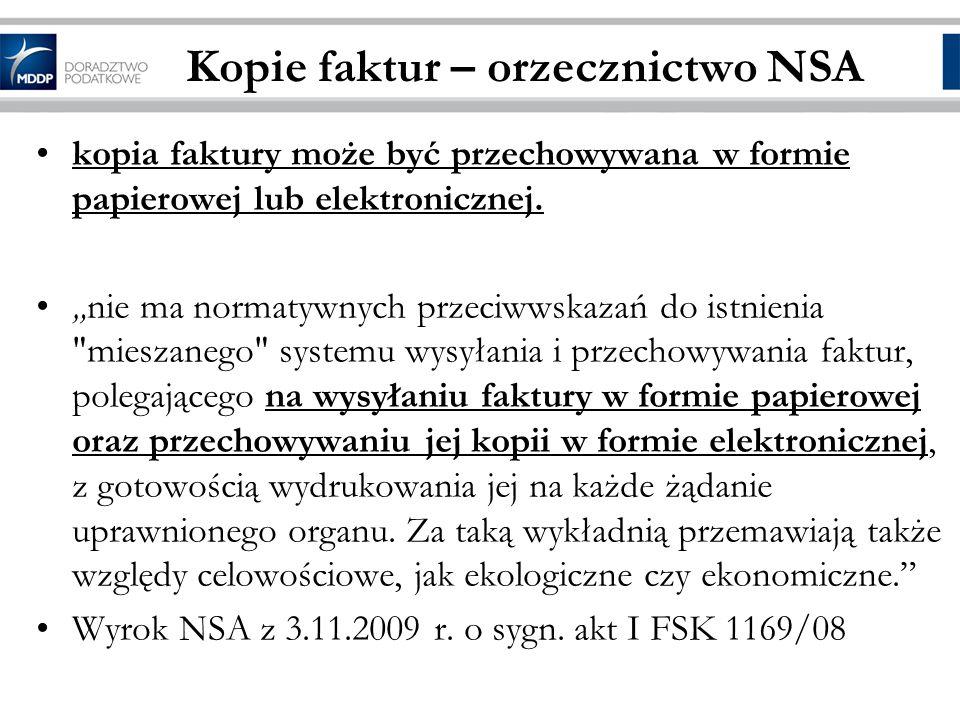 Kopie faktur – orzecznictwo NSA
