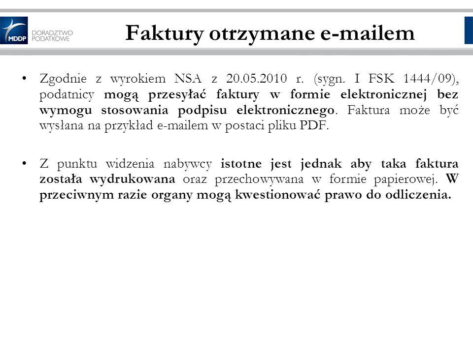 Faktury otrzymane e-mailem