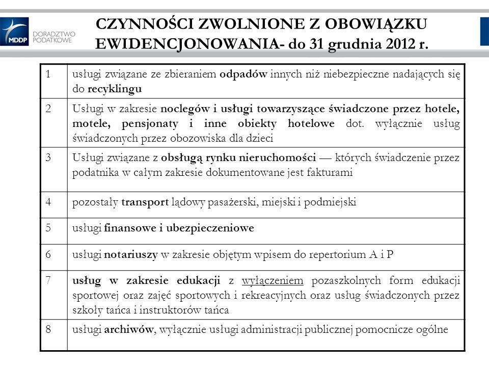 CZYNNOŚCI ZWOLNIONE Z OBOWIĄZKU EWIDENCJONOWANIA- do 31 grudnia 2012 r.