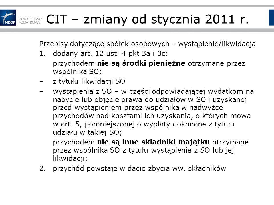 CIT – zmiany od stycznia 2011 r.
