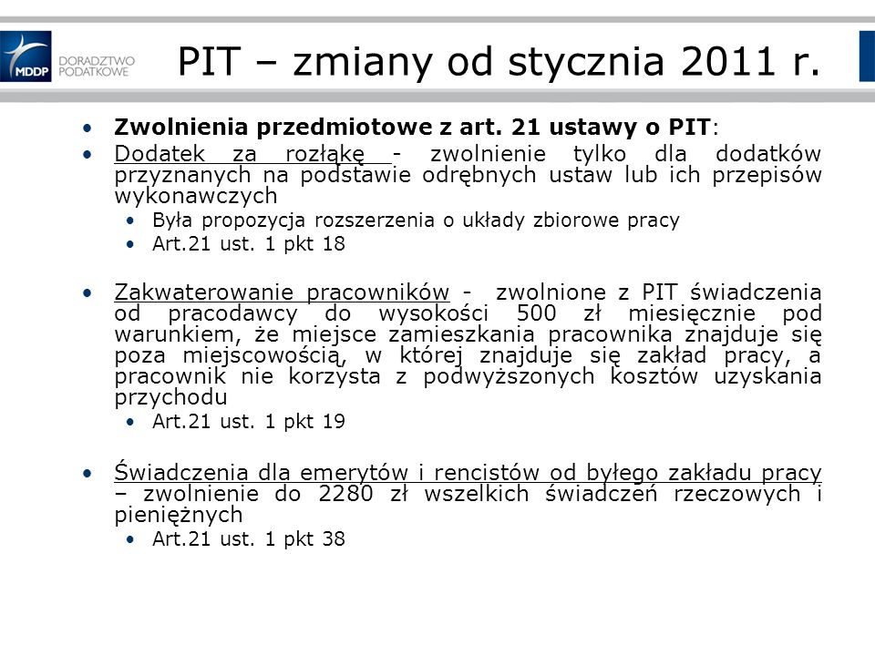 PIT – zmiany od stycznia 2011 r.