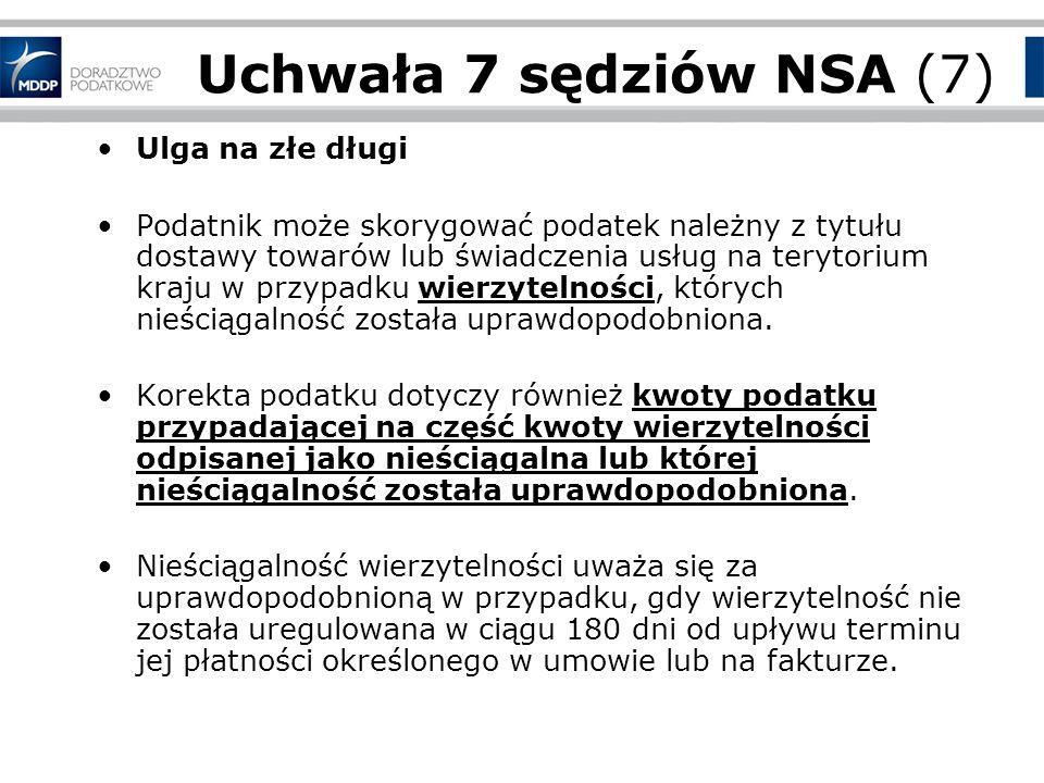 Uchwała 7 sędziów NSA (7) Ulga na złe długi
