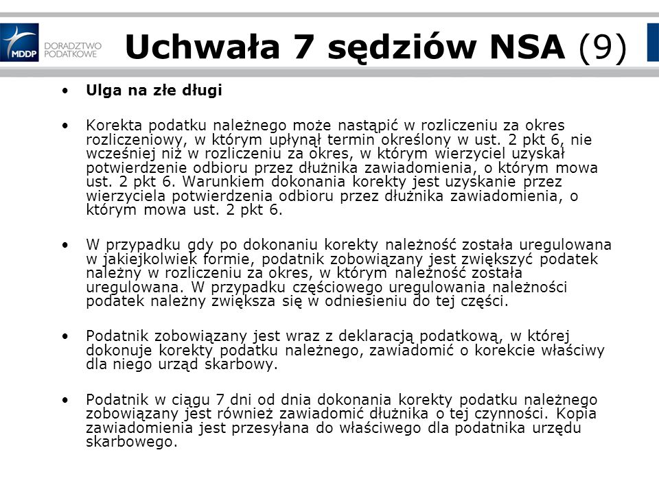 Uchwała 7 sędziów NSA (9) Ulga na złe długi