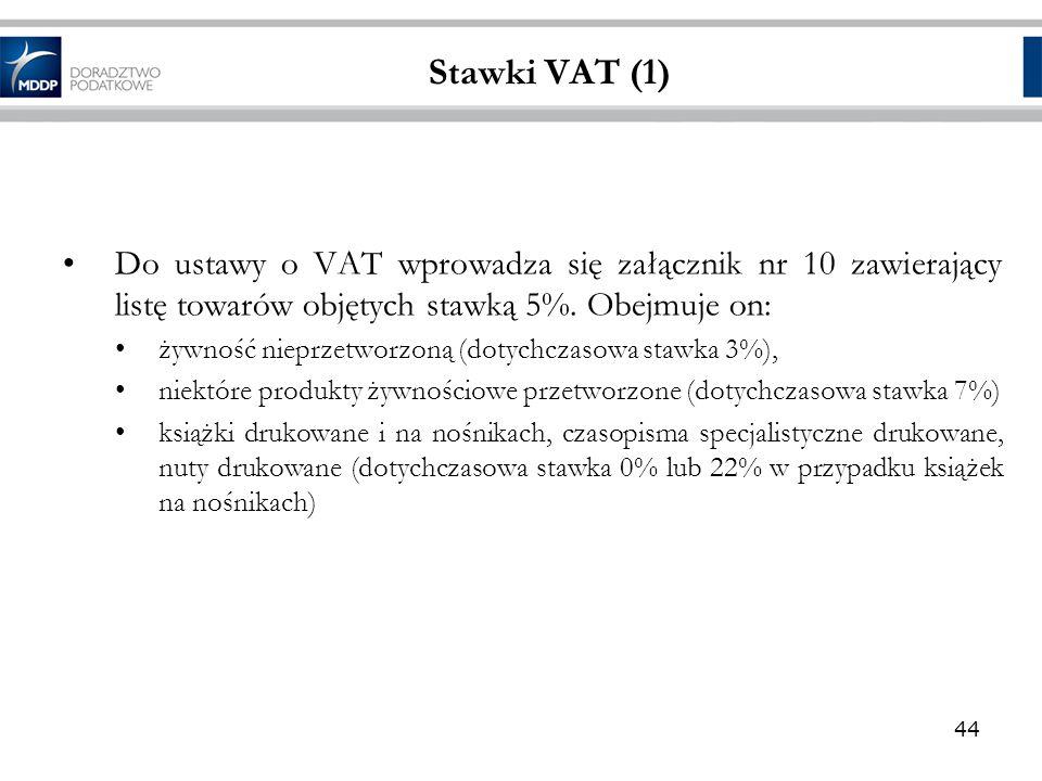 Stawki VAT (1) Do ustawy o VAT wprowadza się załącznik nr 10 zawierający listę towarów objętych stawką 5%. Obejmuje on: