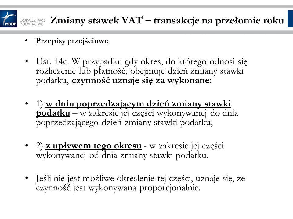 Zmiany stawek VAT – transakcje na przełomie roku