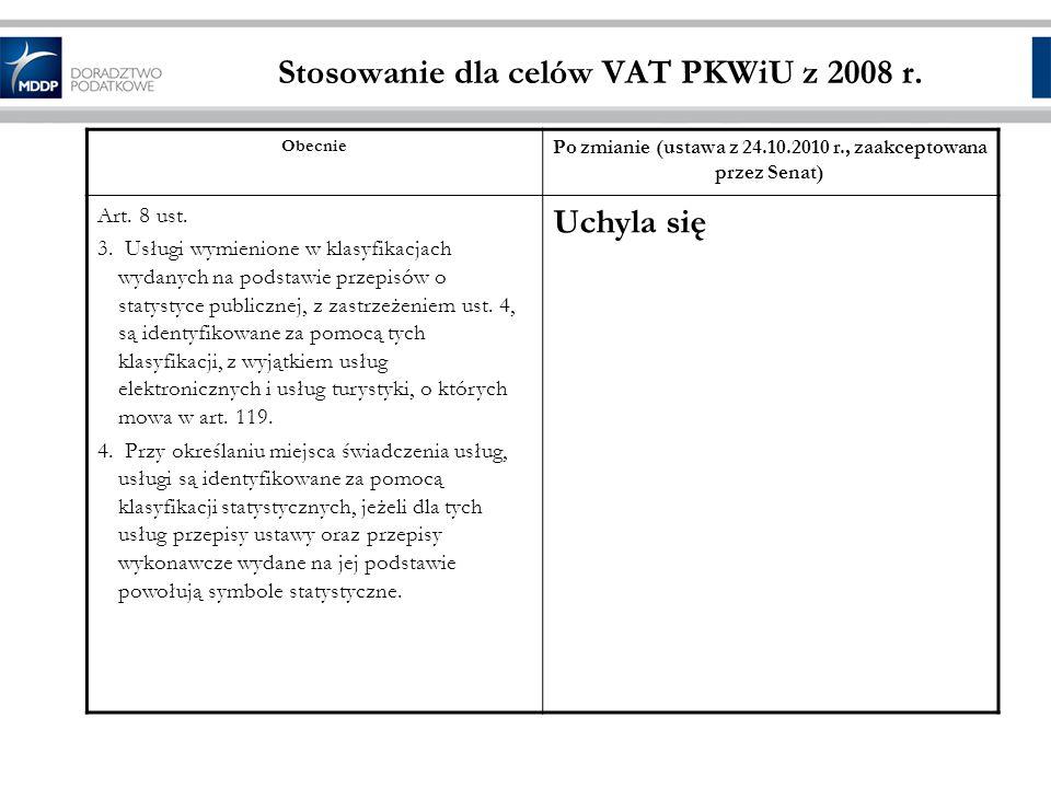 Stosowanie dla celów VAT PKWiU z 2008 r.