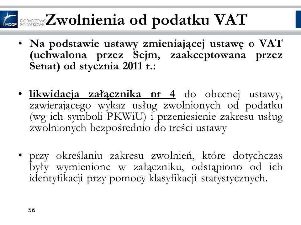 Zwolnienia od podatku VAT