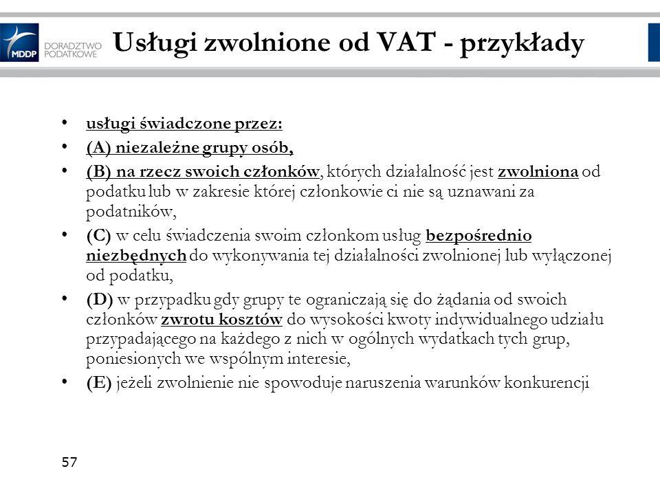 Usługi zwolnione od VAT - przykłady