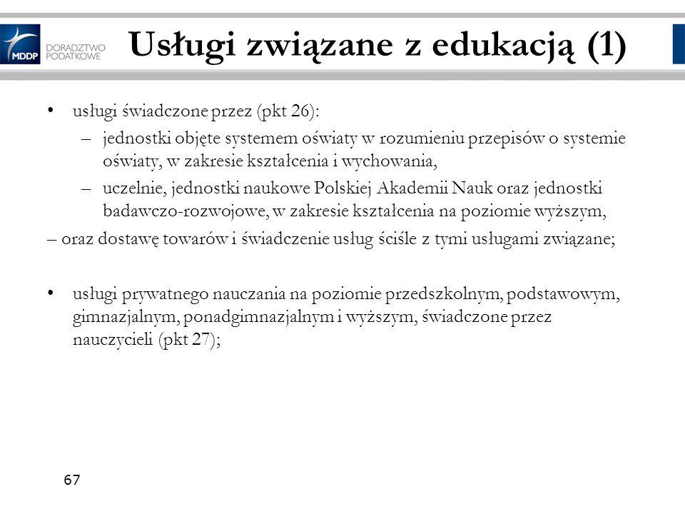 Usługi związane z edukacją (1)