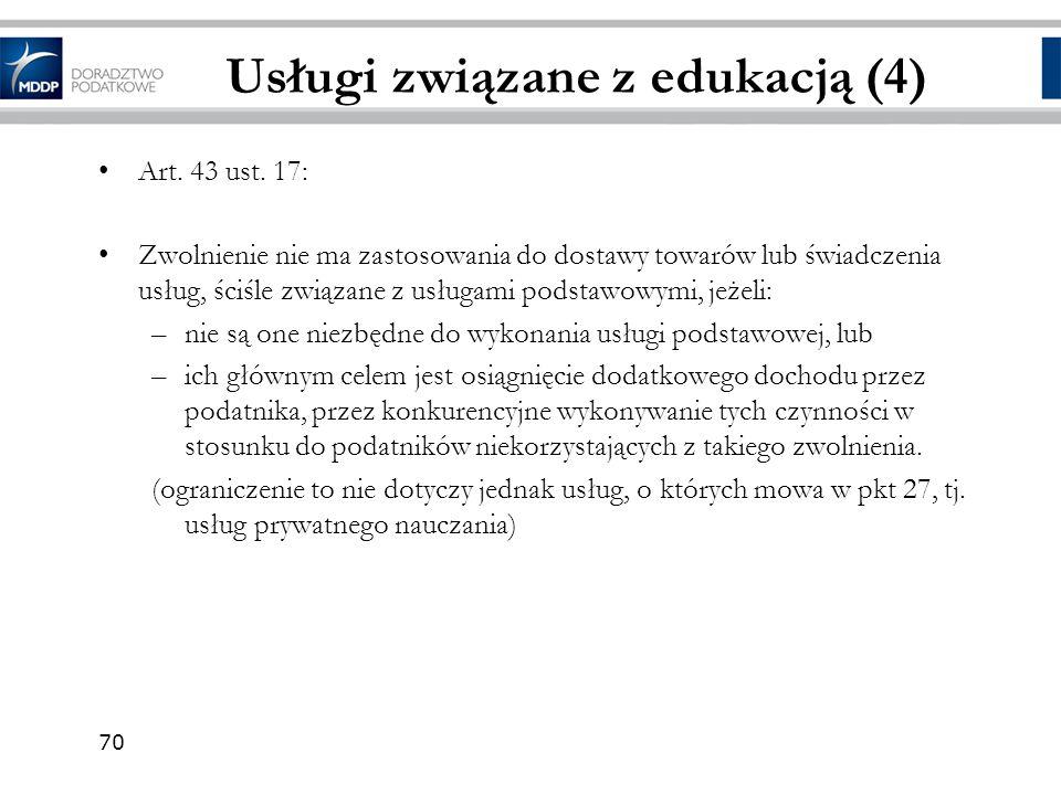 Usługi związane z edukacją (4)