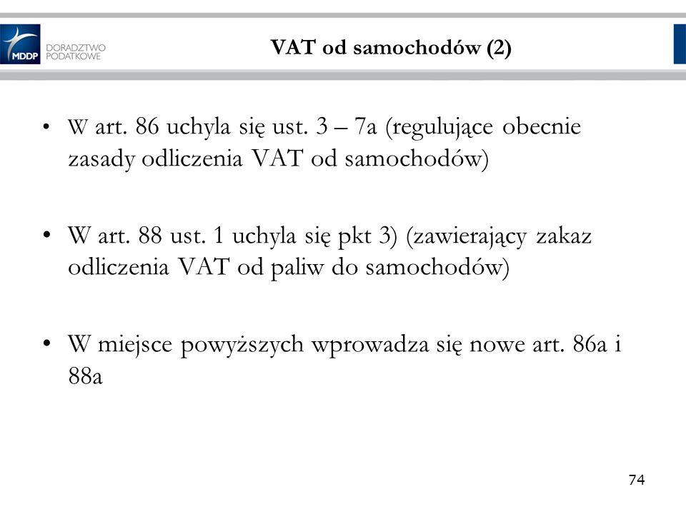 W miejsce powyższych wprowadza się nowe art. 86a i 88a