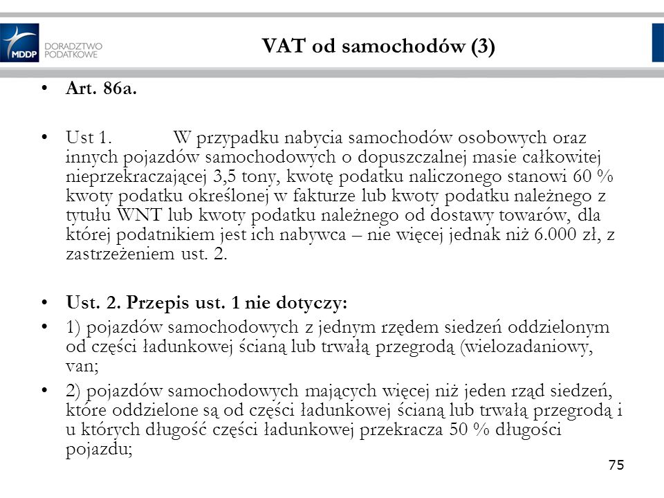 VAT od samochodów (3) Art. 86a.