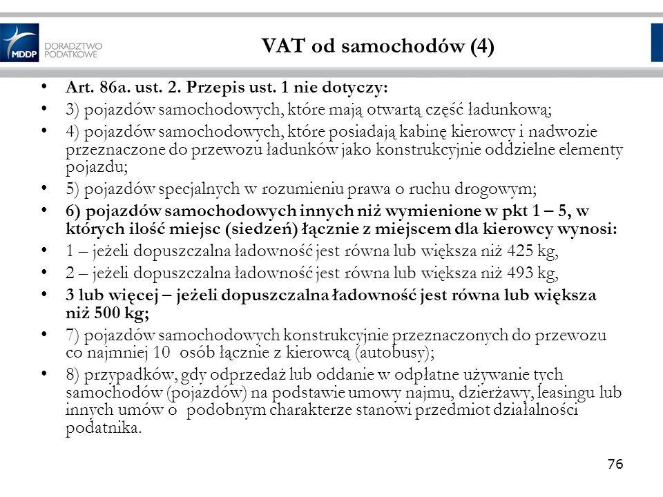 VAT od samochodów (4) Art. 86a. ust. 2. Przepis ust. 1 nie dotyczy: