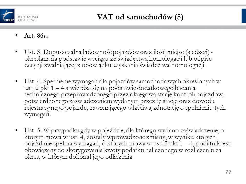 VAT od samochodów (5) Art. 86a.