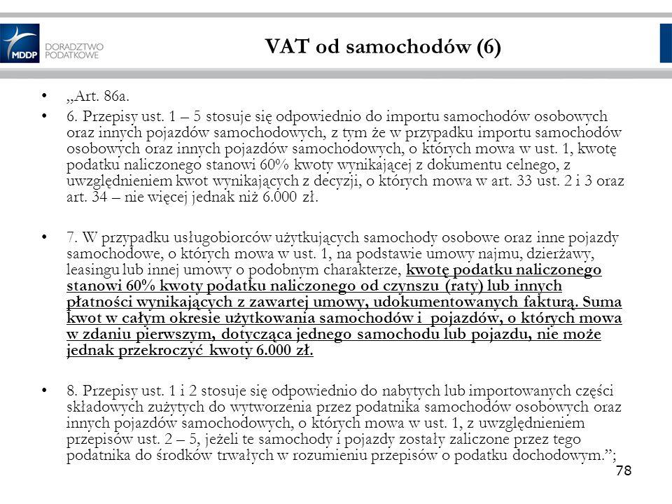 """VAT od samochodów (6) """"Art. 86a."""