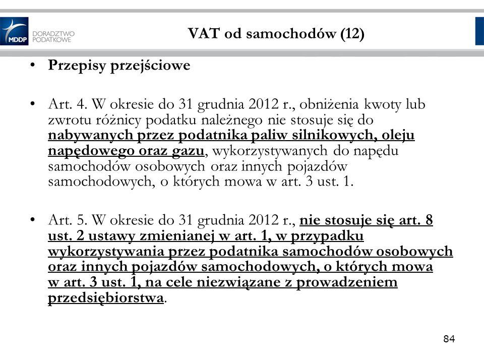 VAT od samochodów (12) Przepisy przejściowe