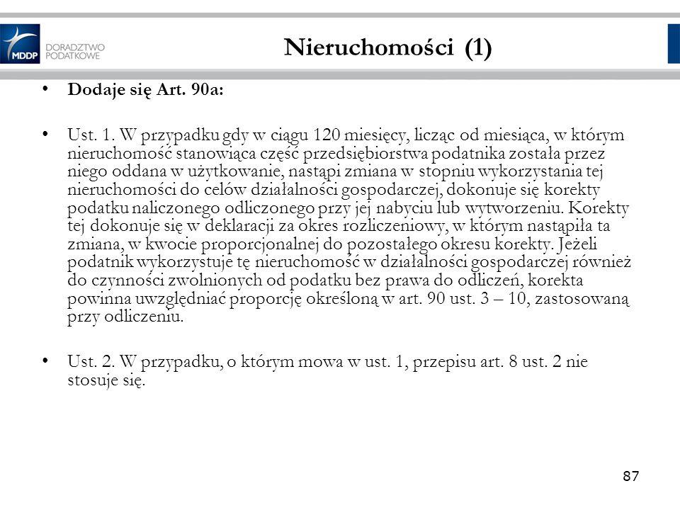 Nieruchomości (1) Dodaje się Art. 90a: