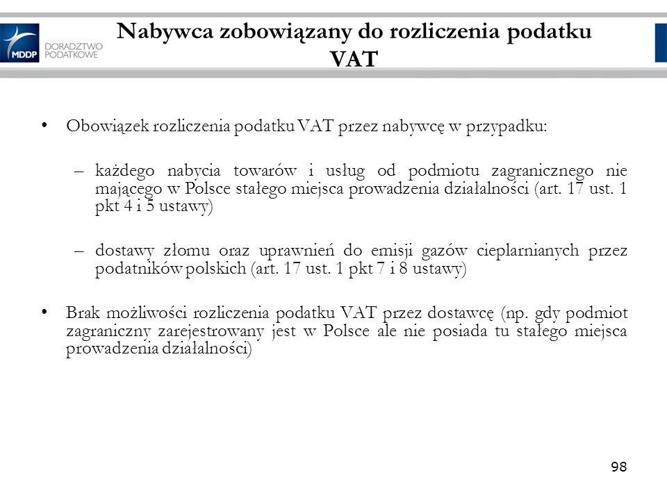 Nabywca zobowiązany do rozliczenia podatku VAT