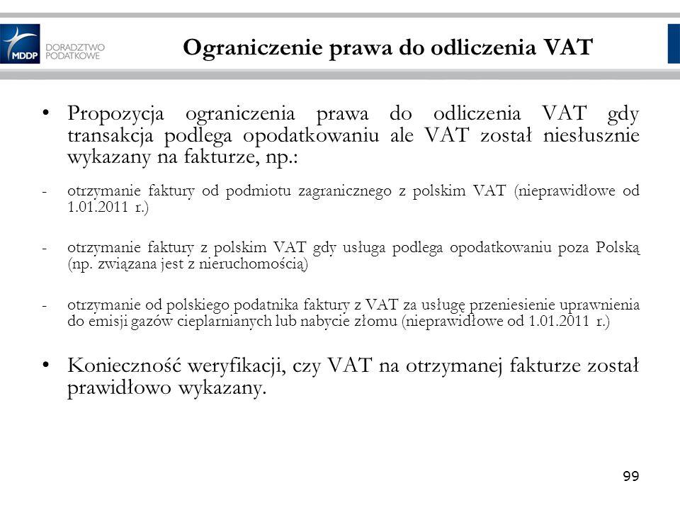 Ograniczenie prawa do odliczenia VAT