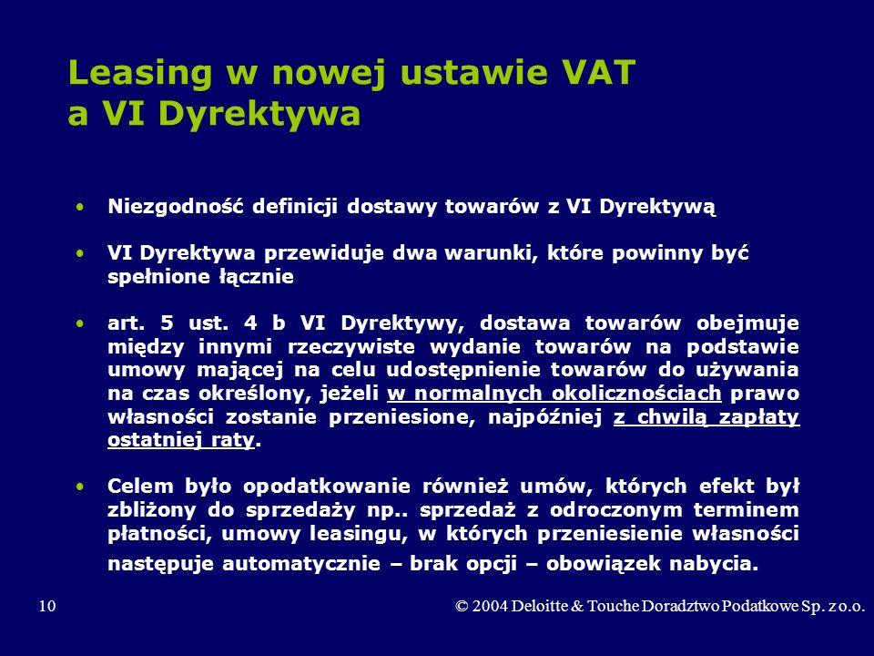 Leasing w nowej ustawie VAT a VI Dyrektywa