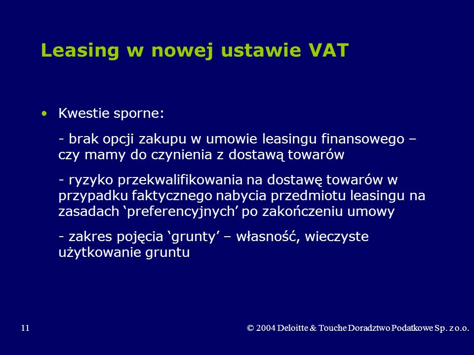 Leasing w nowej ustawie VAT