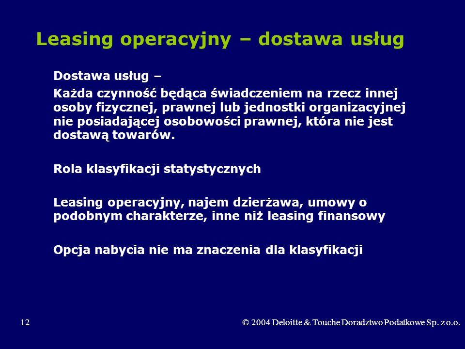 Leasing operacyjny – dostawa usług