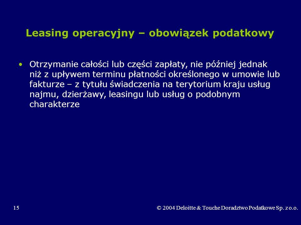 Leasing operacyjny – obowiązek podatkowy