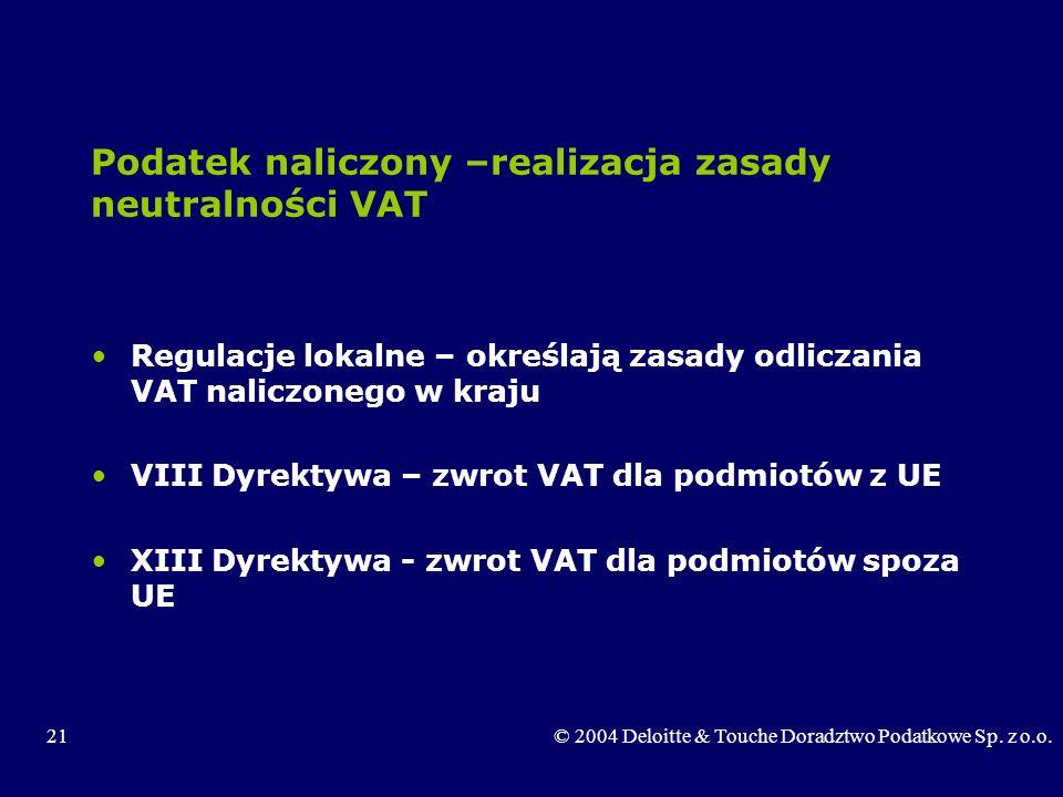 Podatek naliczony –realizacja zasady neutralności VAT