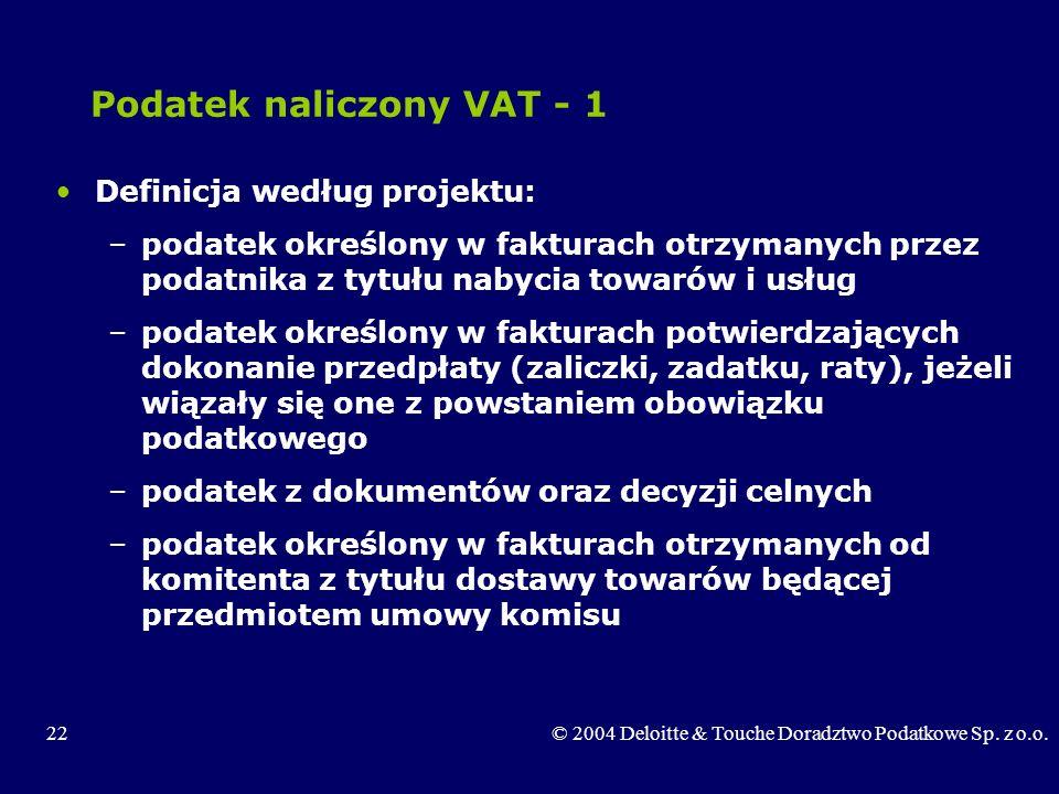 Podatek naliczony VAT - 1