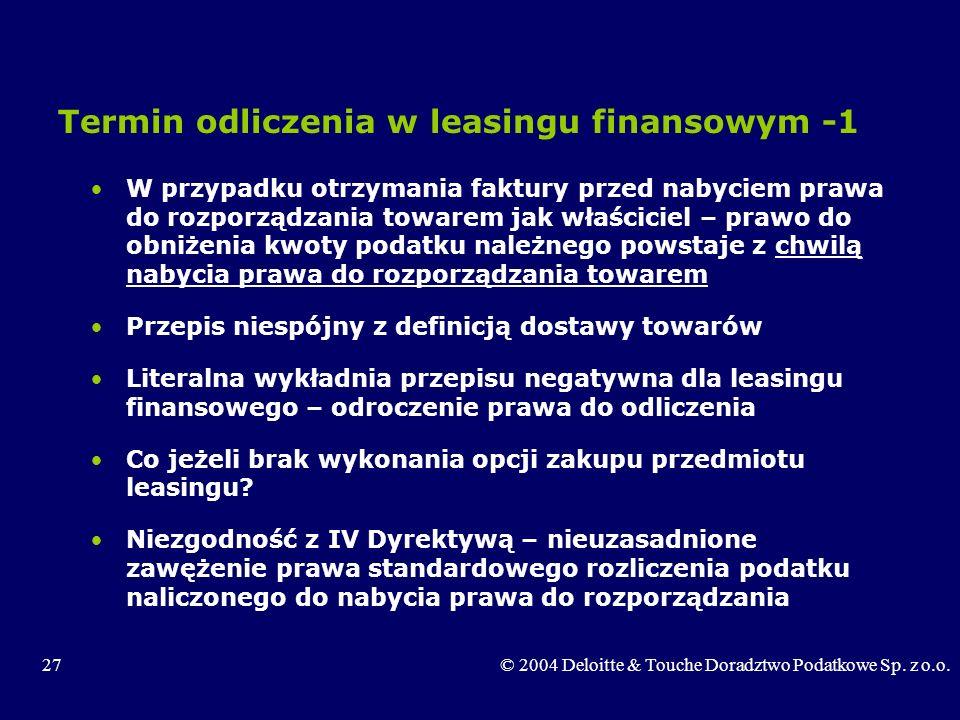 Termin odliczenia w leasingu finansowym -1