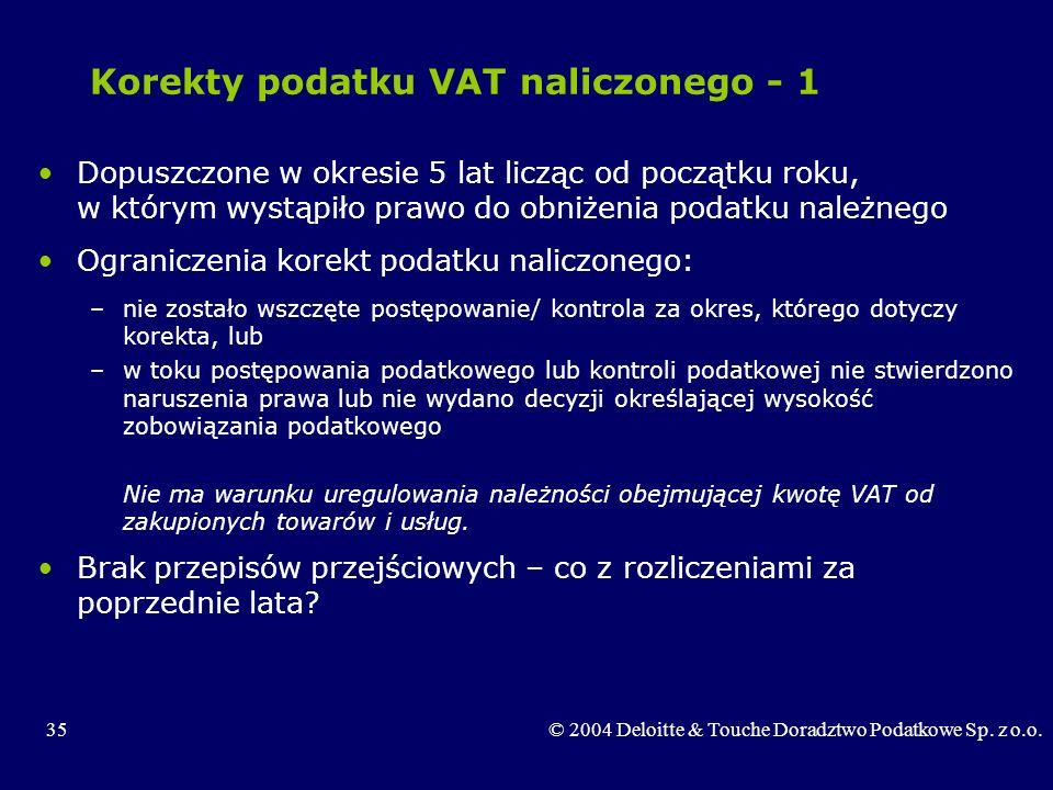 Korekty podatku VAT naliczonego - 1