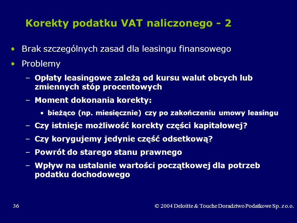 Korekty podatku VAT naliczonego - 2