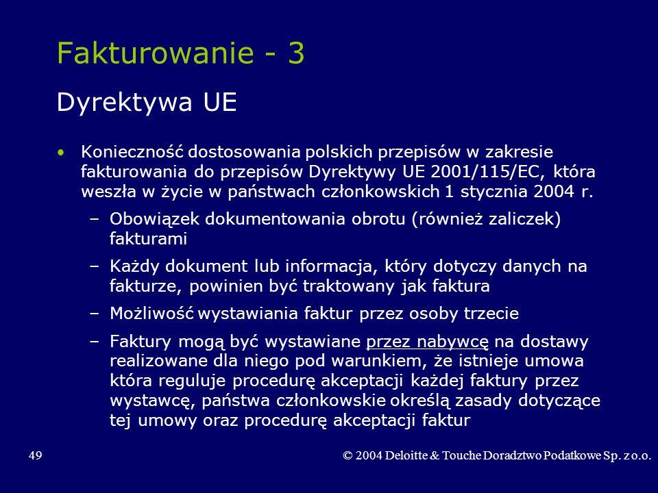 Fakturowanie - 3 Dyrektywa UE