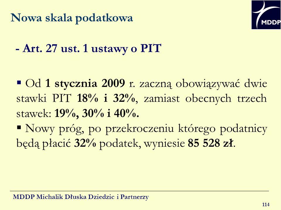 Nowa skala podatkowa - Art. 27 ust. 1 ustawy o PIT.