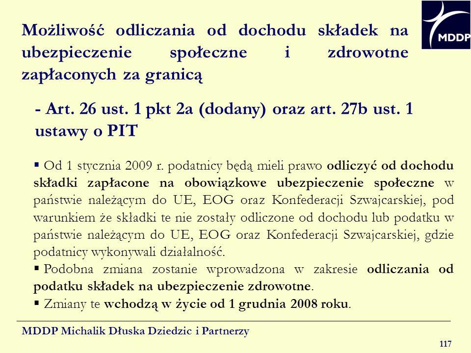 - Art. 26 ust. 1 pkt 2a (dodany) oraz art. 27b ust. 1 ustawy o PIT