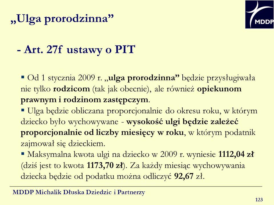 """""""Ulga prorodzinna - Art. 27f ustawy o PIT"""