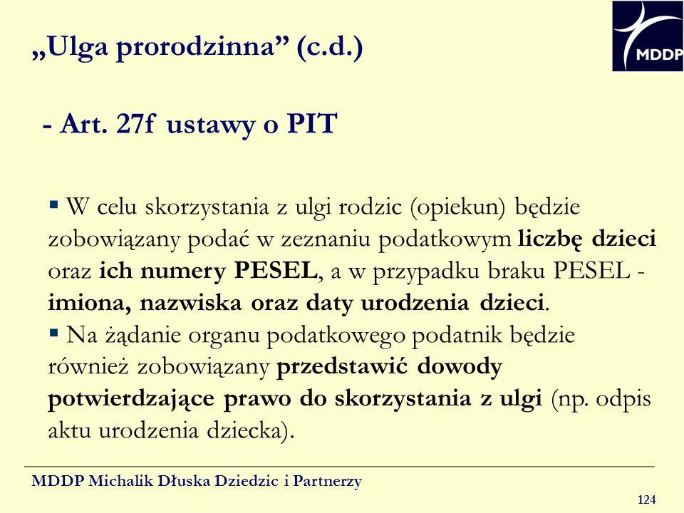 """""""Ulga prorodzinna (c.d.)"""