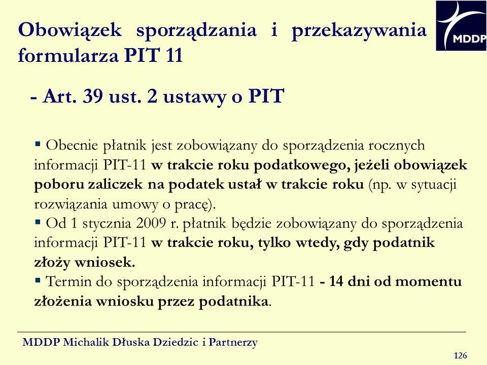 Obowiązek sporządzania i przekazywania formularza PIT 11