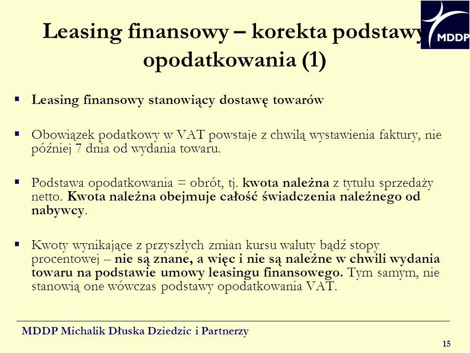 Leasing finansowy – korekta podstawy opodatkowania (1)