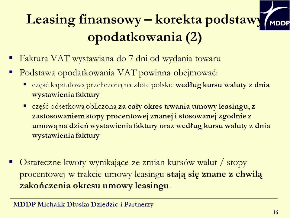 Leasing finansowy – korekta podstawy opodatkowania (2)