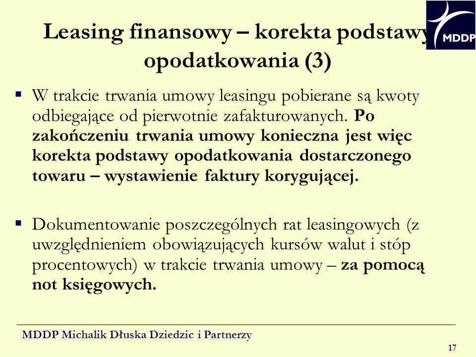 Leasing finansowy – korekta podstawy opodatkowania (3)