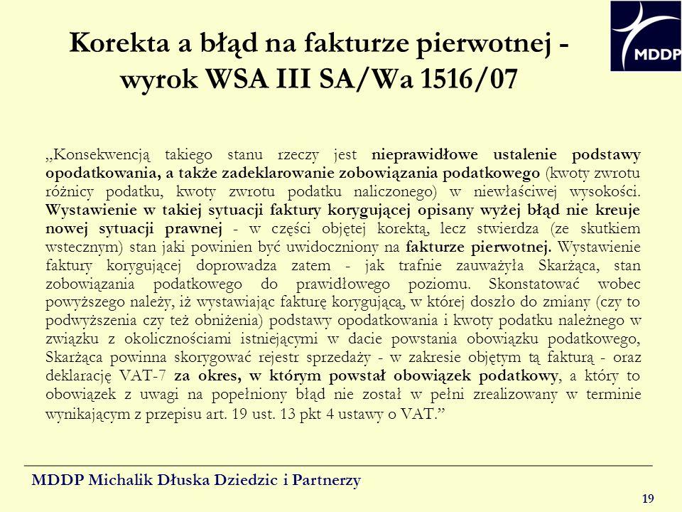 Korekta a błąd na fakturze pierwotnej - wyrok WSA III SA/Wa 1516/07