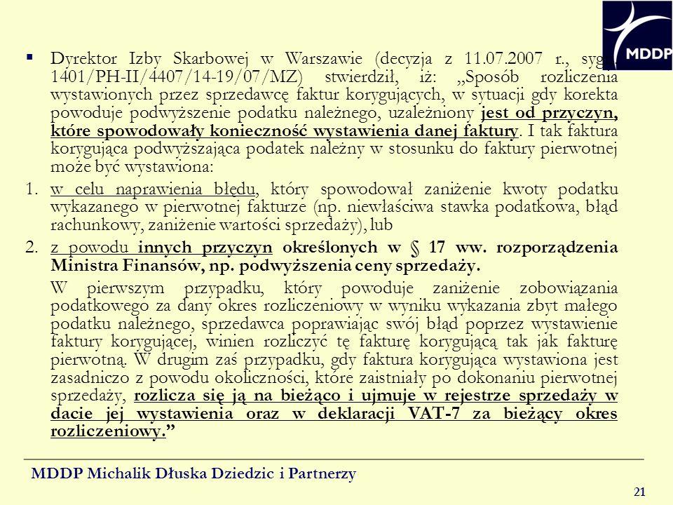 Dyrektor Izby Skarbowej w Warszawie (decyzja z 11. 07. 2007 r. , sygn