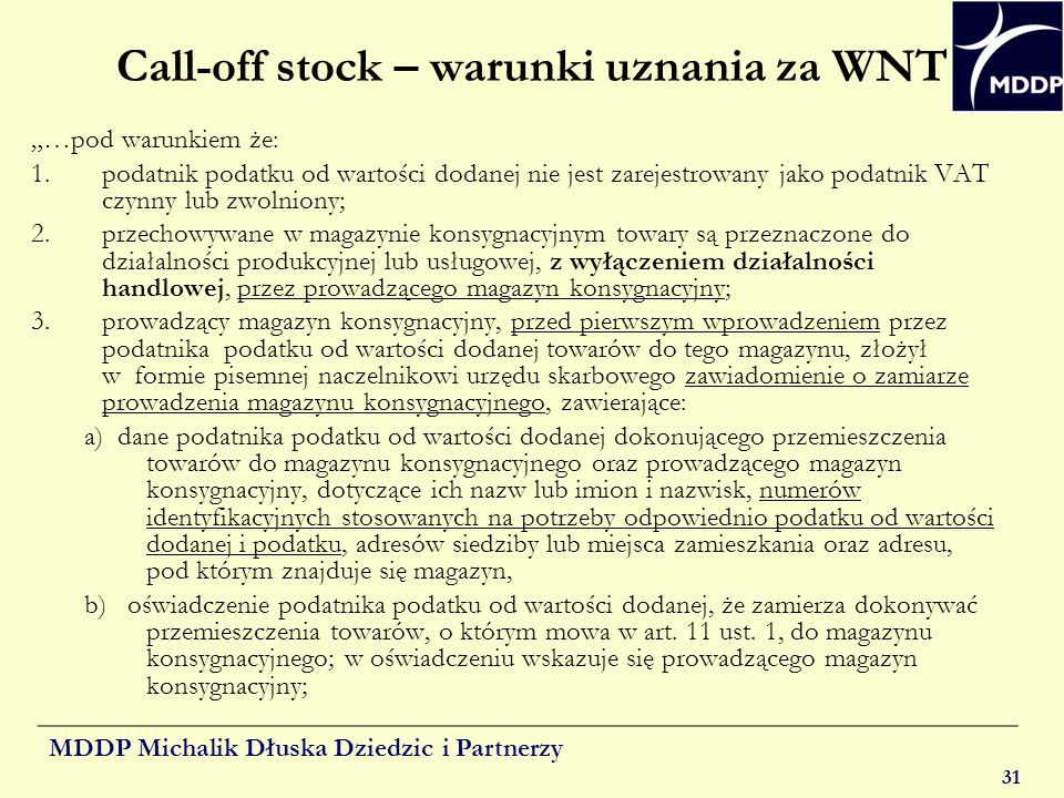 Call-off stock – warunki uznania za WNT