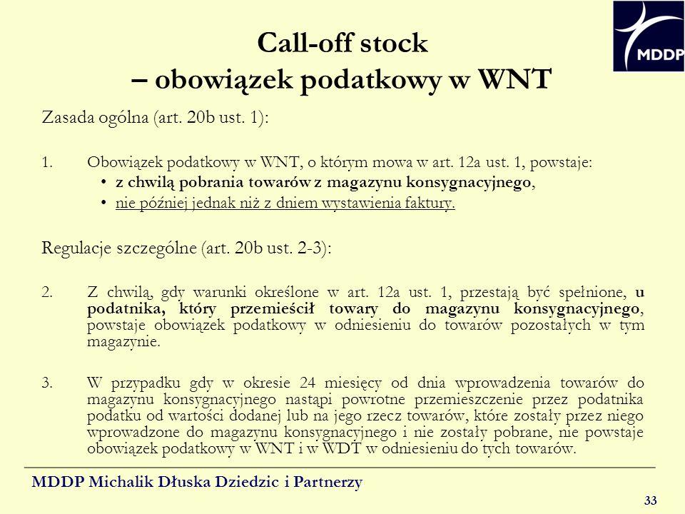 Call-off stock – obowiązek podatkowy w WNT