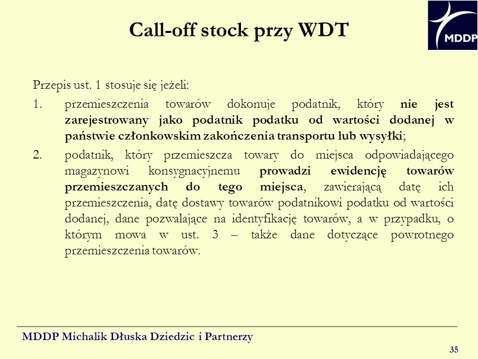 Call-off stock przy WDT